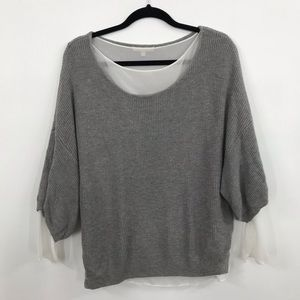 Joan Vass   Layered Look Grey and White Sweater!
